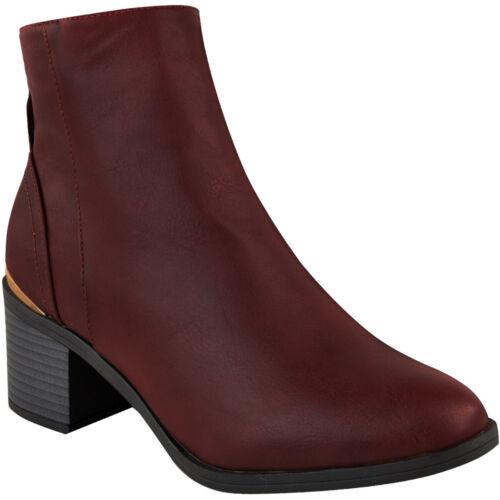 Débardeur Femme Basse Bottines à talon bottier et Plaqué Bordure Casual Hiver Chaussures Taille UK