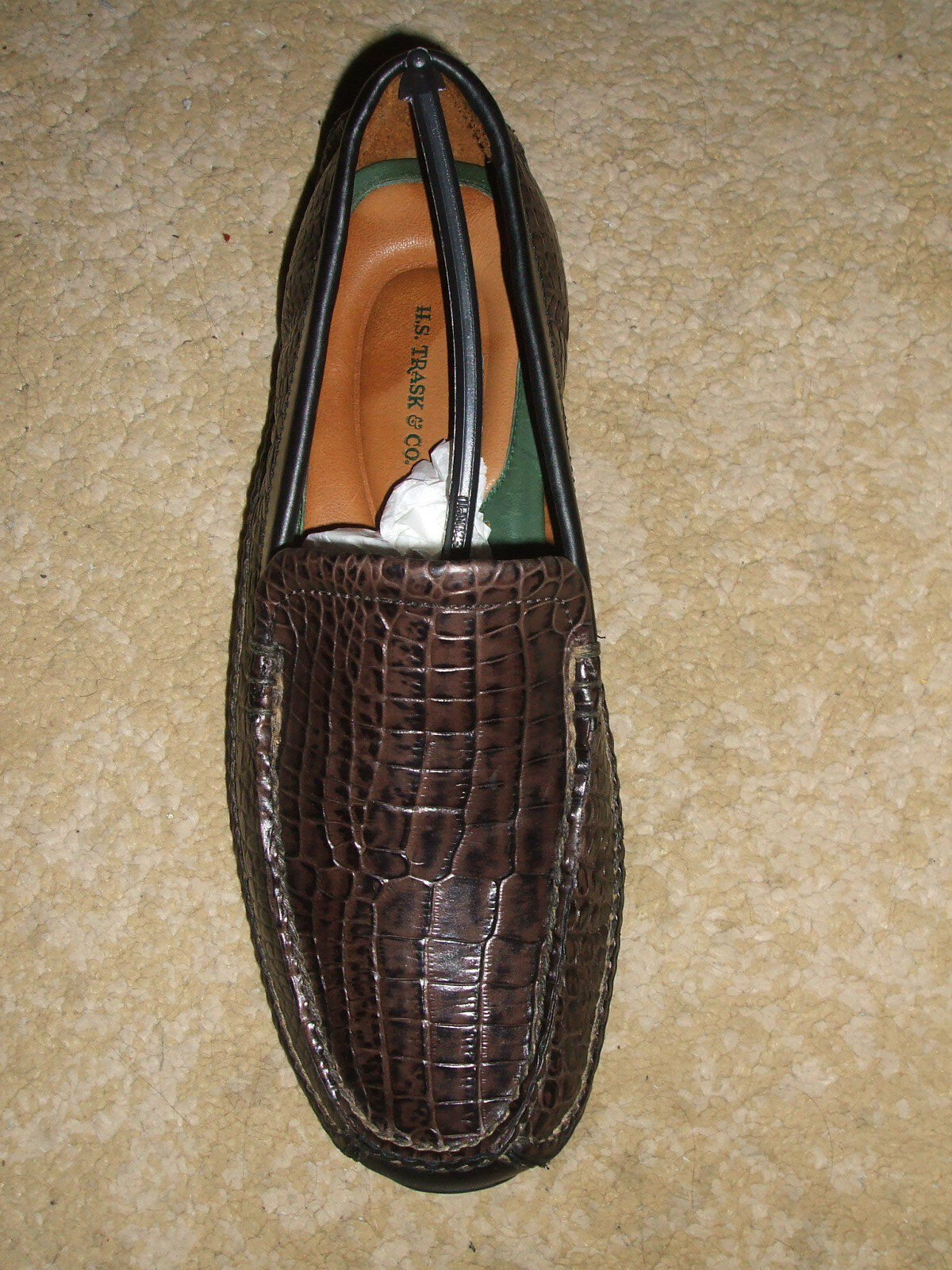 New H. S. Trask Choclolate Choco Croc Loafer 8 1 2 M Right shoes Only
