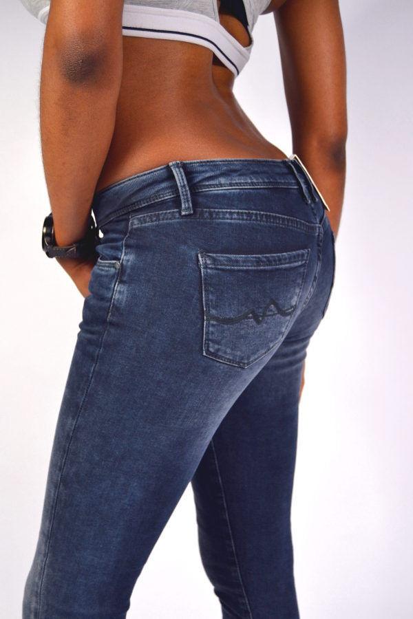 NEU  PEPE Jeans CHER WA0 Skinny Fit dunkelblau schwarz Cropped mit Zip 7 8 Röhre