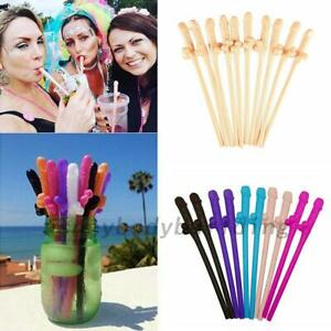 LADIES HEN PARTY NIGHT NOVELTY DICKY STRAW ACCESSORY WILLY STRAWS X 8 PACK