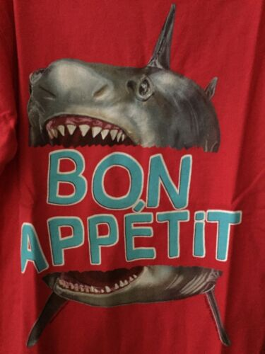 Boys 5 Boutique Wes /& Willy Shark Shirt NEW NWT Bon Appetit Red S//S