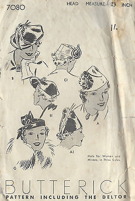 1930s Vintage Sewing Pattern HATS SIZE: 23 (1279)