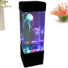 EP_ Mini Moving Jellyfish Aquarium Home Office Night Light LED Lamp Tank  Novelty
