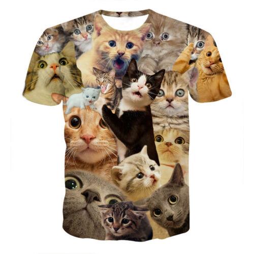 Funny Men Boys 3D Cat Printed Short Sleeve T-Shirt Tops Blouse Animal Lover Gift