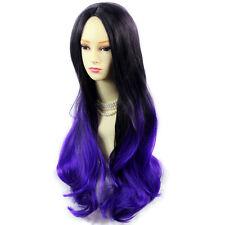 Wiwigs Long Wavy Dip-Dye Ombre Ladies Wig Black Brown & Purple