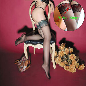 Silicone-Striped-Stay-Up-Stockings-Sexy-Embroidery-Peacock-Feathers-Thigh-T