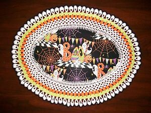 New Handmade Oval Crochet Doiley--Halloween/Boo/Ghosts