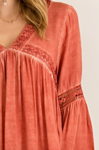 ENTRO RUST MINERAL WASHED LACE BOHO GYPSY BABYDOLL LINED DRESS TUNIC S M L