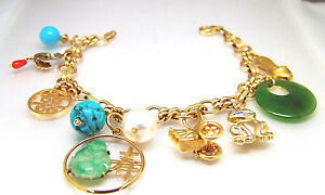 14k Gold Oriental Asian Chinese Theme Charm Bracelet Vintage movable
