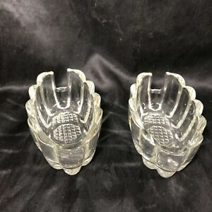 Pair of Vintage Clear Glass Condiment Oblong Bowls