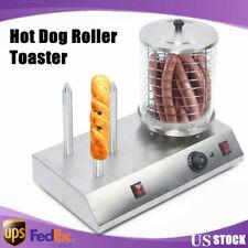 110v Stainless Steel Hot Dog Roller Steamer Warmer Machine Food Bun Commercial