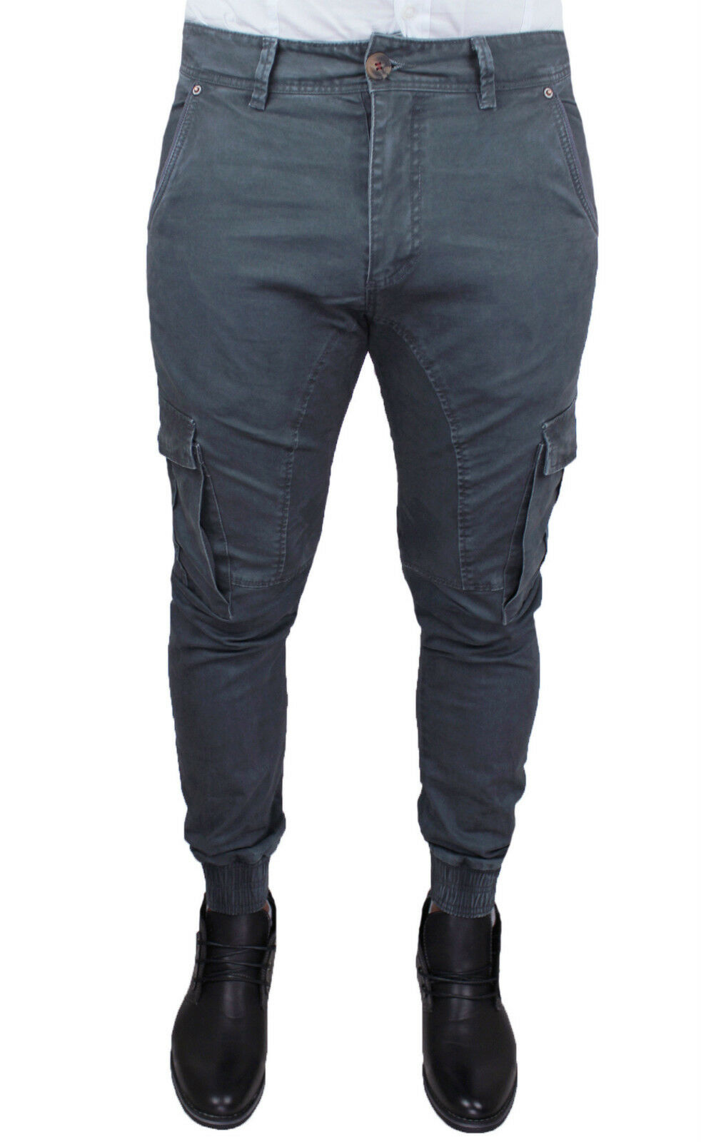 PANTALONI men DIAMOND CARGO grey INVERNALE SLIM ADERENTE  42 44 46 48 50 52