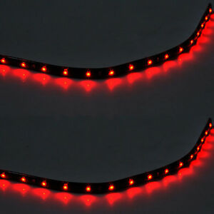 2-X-15-LED-30cm-SMD-Car-Vehicle-Flexible-Waterproof-Strip-Light-Red-12V-Sales