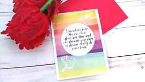 Handmade Greeting Card Rainbow Encouragement Uplifting Sentiment A2 Size