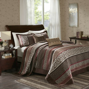 BEAUTIFUL-XXL-MODERN-RED-BROWN-TAUPE-CABIN-LODGE-COZY-QUILT-BEDSPREAD-SET-NEW