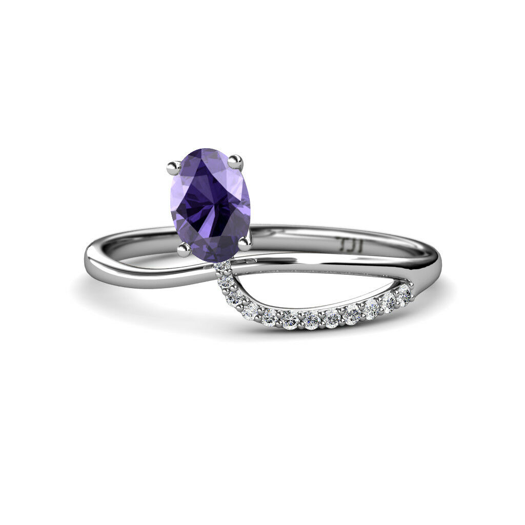 Oval Cut Iolite & Round Diamond Womens Promise Ring 1.02 ctw 14K gold JP 166540