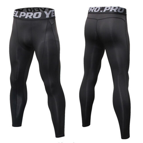 Men/'s Athletic Running Compression Leggings Gym Spandex Skin Base Layers Plain