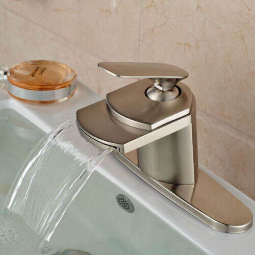Bathroom Basin Faucet Single Handle Sink Mixer Tap Brushed Nickel Cover Plate