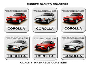 Details about 84' 86' TOYOTA AE 82 TWIN CAM 16 COROLLA FX16 SET OF 6 RUBBER  DRINK COASTERS