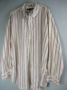 Tommy-Hilfiger-Mens-2XL-XXL-Cotton-Long-Sleeve-Striped-Button-Front-Shirt-Pocket