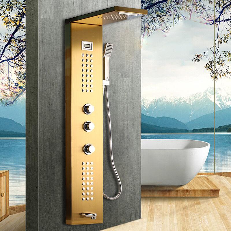 Pantalla digital de oro 4 Vías Panel de ducha de lluvia Grifo Mezclador Grifos de mensaje