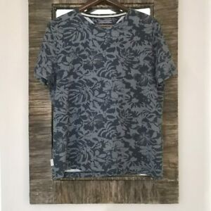 Details about Tommy Hilfiger Mens T Shirt Fran Floral Print Dutch Navy Size Large Short Sleeve