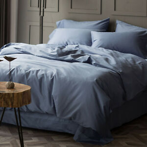 Queen Bed 1200TC Egyptian Cotton Sheet Set Fitted Flat Pillowcases 9 Colors