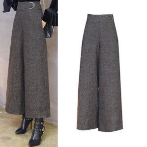 94f110bb9ba2c Women High Waist Wool Tweed Palazzo Wide Leg Pants Culottes Trouser ...