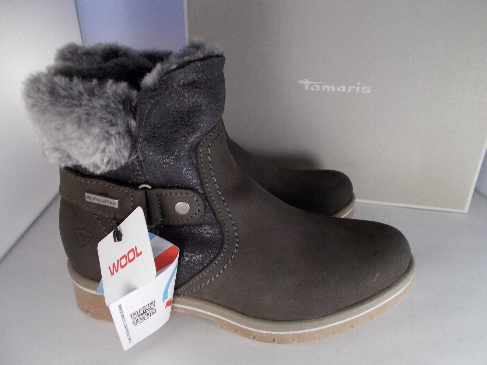 Tamaris Jeanette 1-26449-27 Graphite Leather Boots Women's Size 5.5 New In Box
