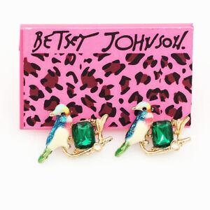 Betsey-Johnson-Enamel-Crystal-Cute-Little-Bird-Charm-Ear-Stud-Animal-Earrings