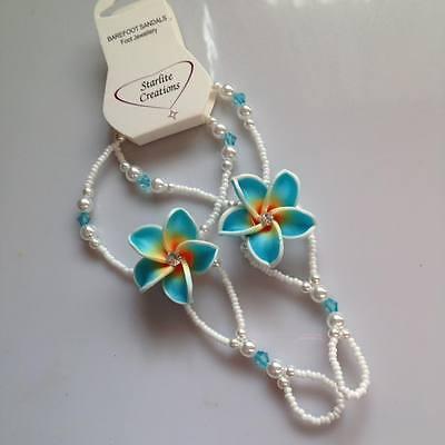 TODDLERS Kids GIRLS Beach Bridal Barefoot Sandals AQUA BLUE Frangipani flower