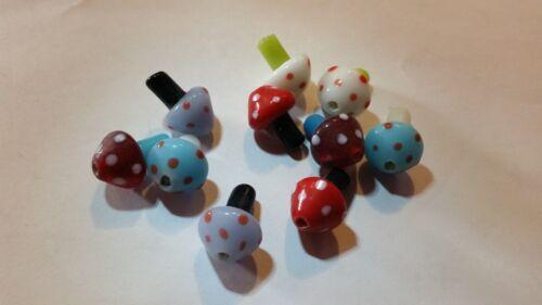 10 White Spotted Blue Red Lavendar Green Mushroom Lampwork Glass Beads DIY