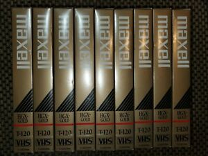 LOT OF 9 MAXELL VHS T-120 VIDEO CASSETTE PREMIUM HIGH GRADE BLANK VCR TAPES NEW