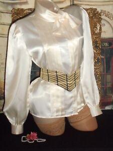 3fe7598bc57334 USA 10 Satin Blouse Ivory White High Collar Scarf Bow Herman Geist ...