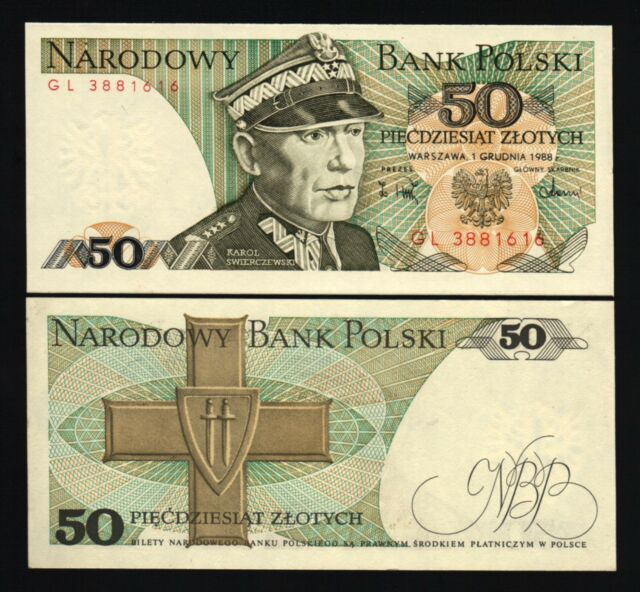 Poland 50 Zlotych P142 1988 Order Of Grunwald Unc Polish Currency