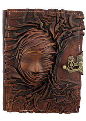 Scarfed Woman Large Leather Journal / Notebook / Diary / Handmade / Refillable