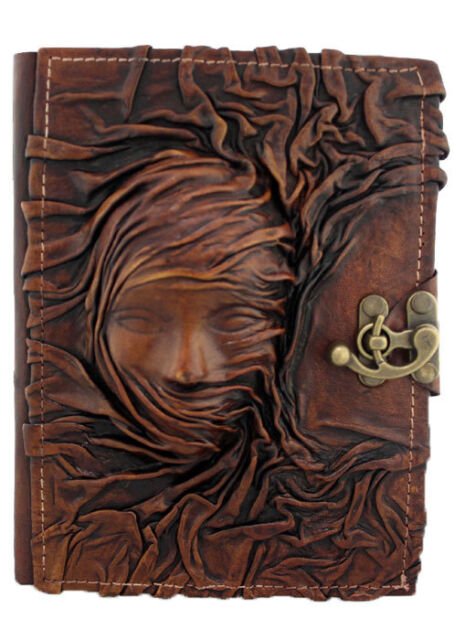Scarfed Woman Large Leather Journal Refillable / Diary / Handmade