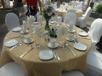 5 Burlap Tablecloths 120 Inch Round Handmade Rustic Beige Tan Modern 60 Table