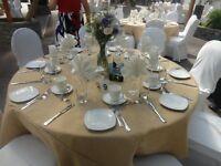 10 Burlap Tablecloths 120 Round 100% Premium Natural Refined Jute Wedding 5 Ft