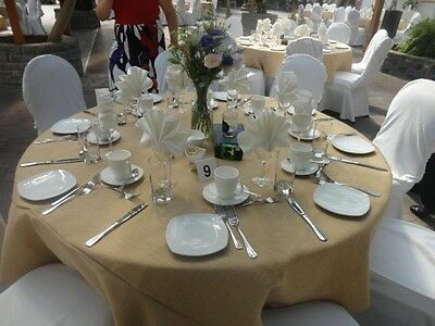 5 Burlap Tablecloths 90 inch Round Premium Natural Refined Jute Wedding Overlays