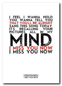 STEREOPHONICS - I Miss You Now song lyric poster art typography print - 4  sizes | eBay