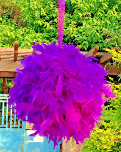Feather Pom Poms Kissing Ball Decorate Ball Chandelle Ball 6 Inch Purple