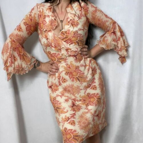 VINTAGE 100% SILK FLUTTER BELL SLEEVE FLORA DRESS