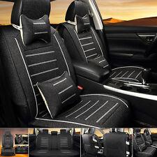 Car Seat Cover 5 Seats Front & Rear Linen Cushion Full Set W/Neck Lumbar Pillow