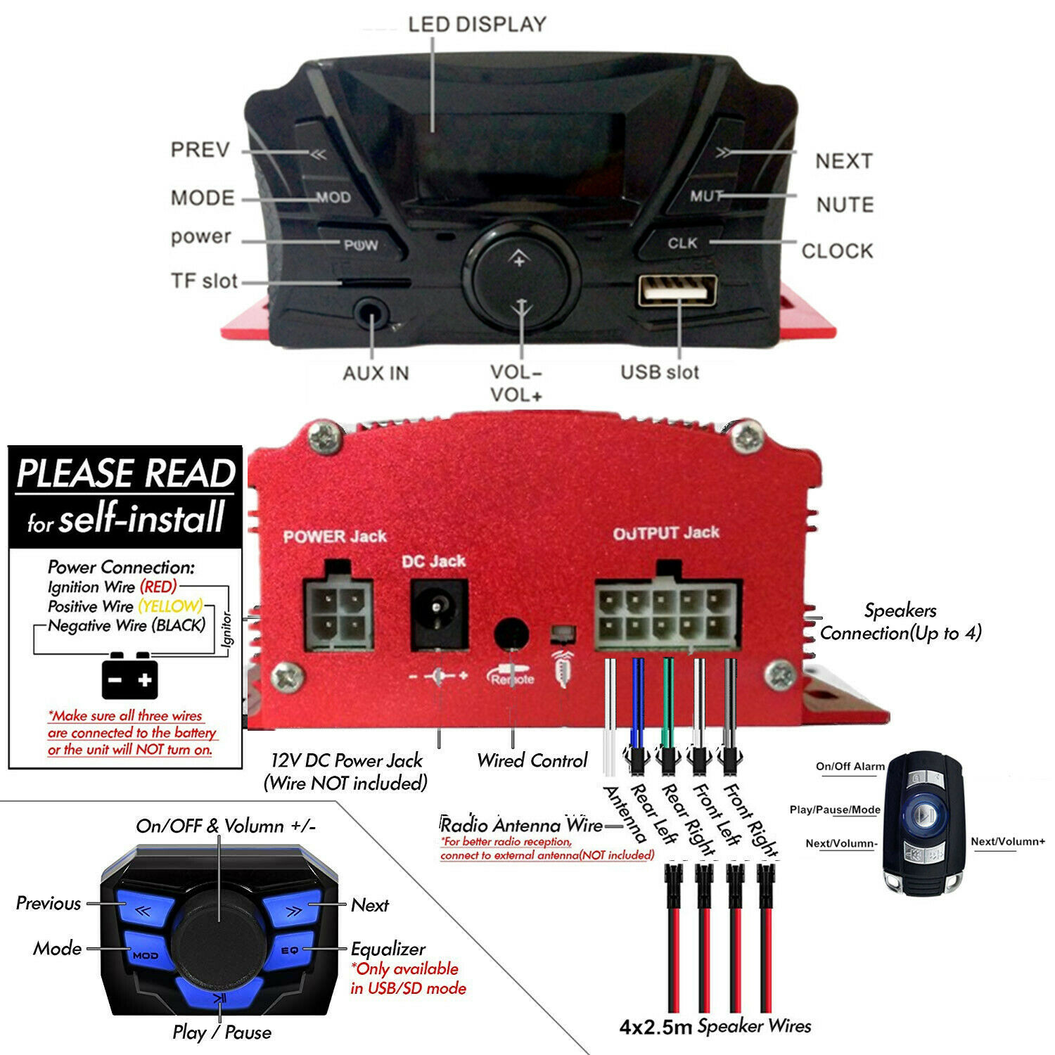 Accessories 2 Red Anti-Theft Bluetooth Motor Remote 3 Motorcycle ...