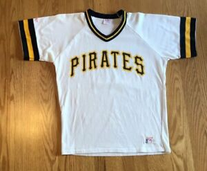 new arrival 77f70 9e6c0 Details about Vintage 80s Rawlings Pittsburgh Pirates MLB Baseball Pullover  Jersey M