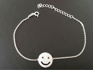 5ec4b16b3172c Details about 925 Sterling Silver Cubic Zirconia CZ Round Disc Smiley Face  Emoji Bracelet