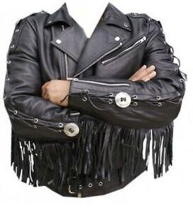 Uomini-Western-Wear-Brando-Stile-Biker-Giacca-di-pelle-nera-frange-Concho