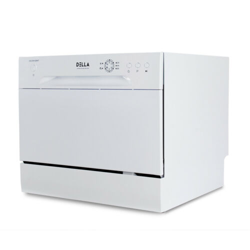 Mini Compact 6 Place Settings Countertop Dishwasher Stainless Steel, White