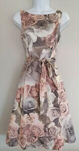Para-Mujer-Fase-Ocho-En-Rosa-Rosa-Floral-neta-de-Espalda-en-V-Vestido-de-estilo-vintage-50s-8